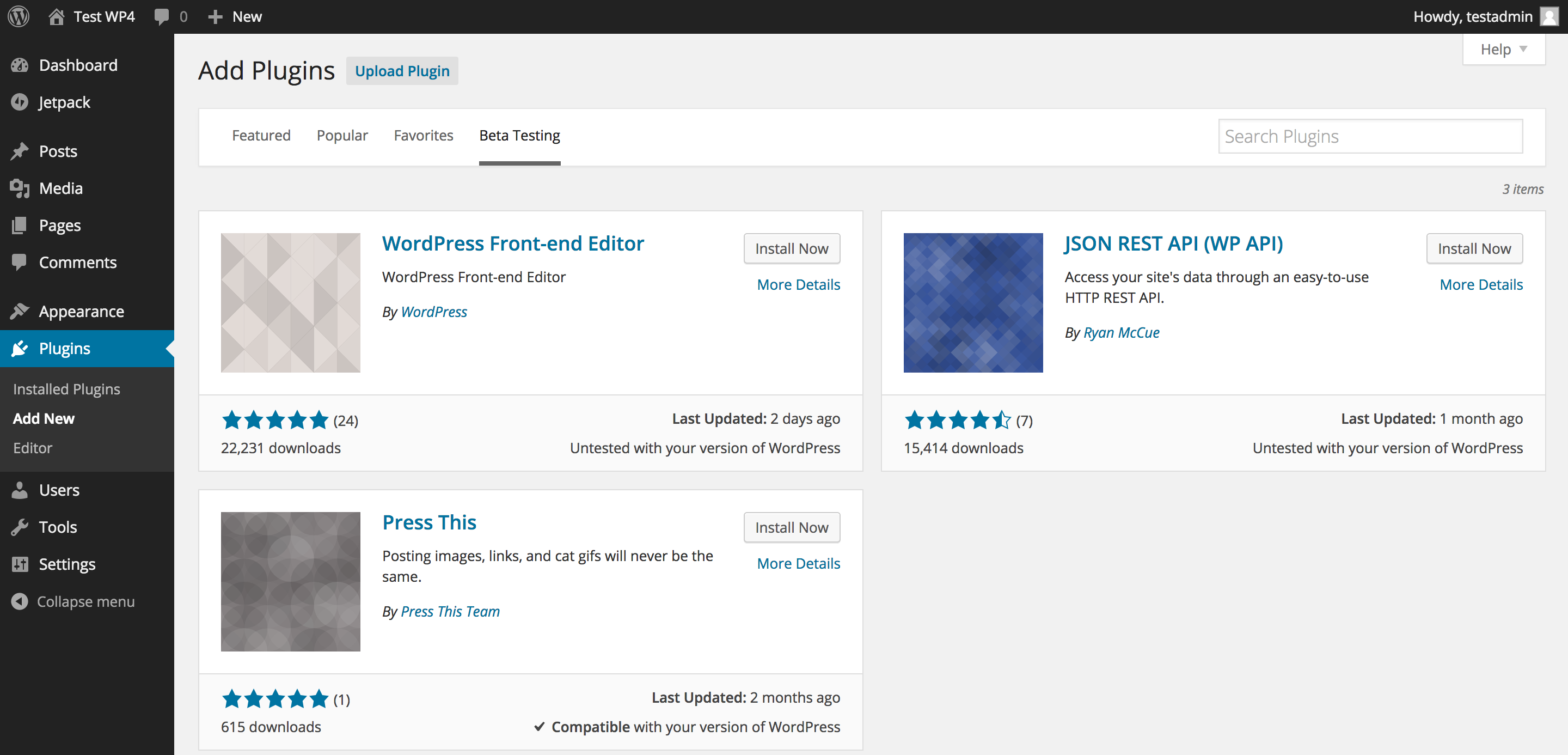 WordPress 4.0 Beta Plugins