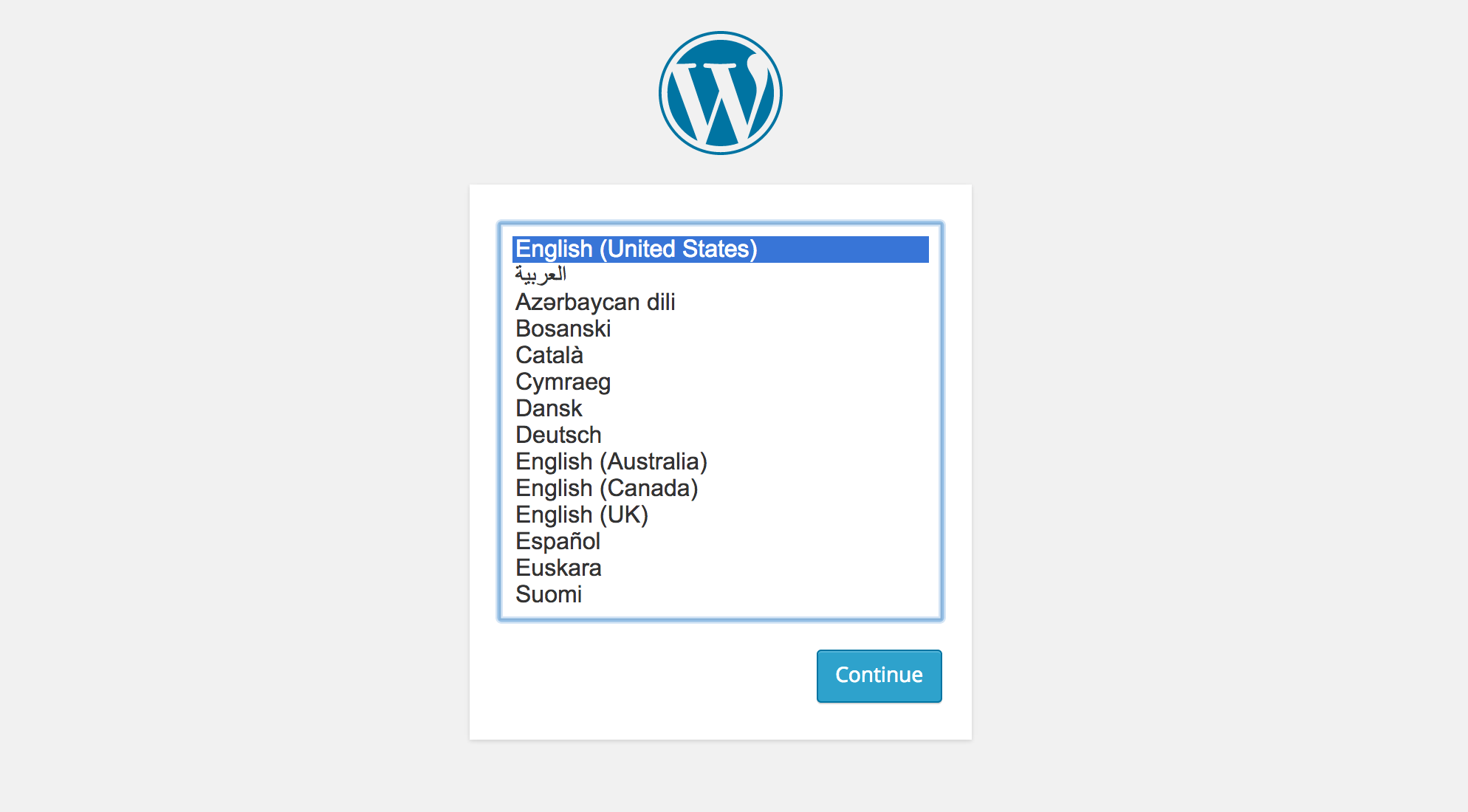 WordPress 4.0 Installation Language Selection