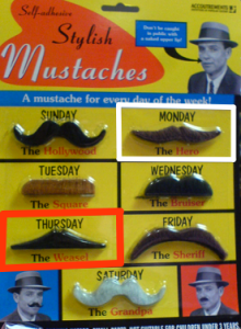 A pack of stylish mustaches - the linked mustaches clearly outlined