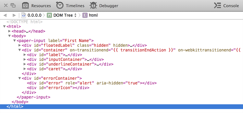 Safari Devtools Screenshot for Custom Element