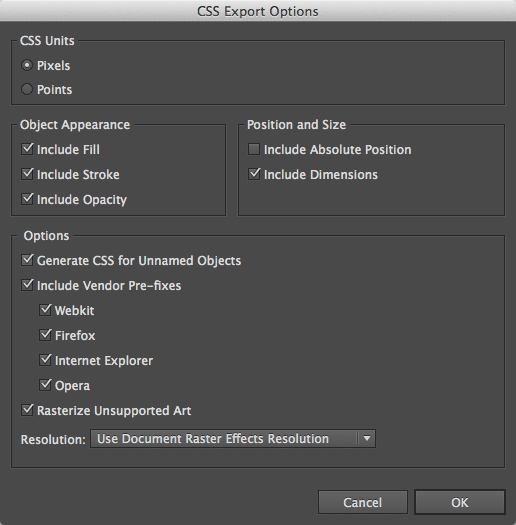 CSS Export Options panel