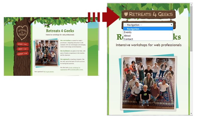 The image represents the screenshot of Retreats 4 Geeks homepage