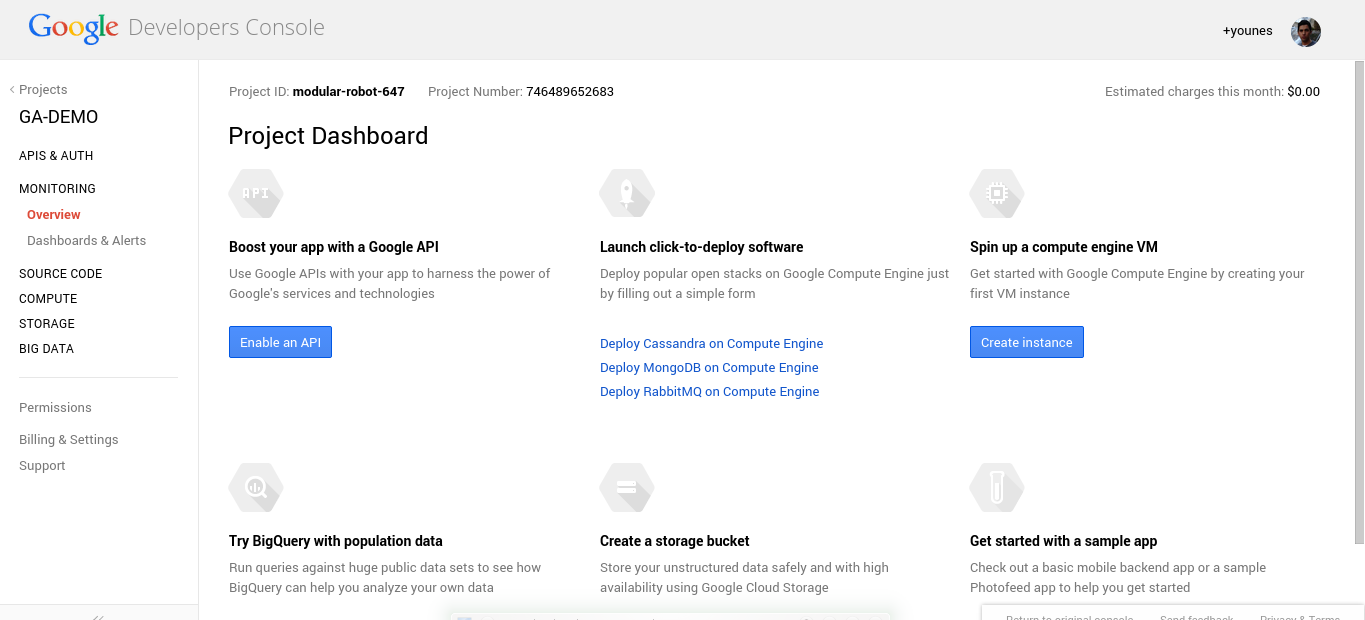 Google Console Project Dashboard