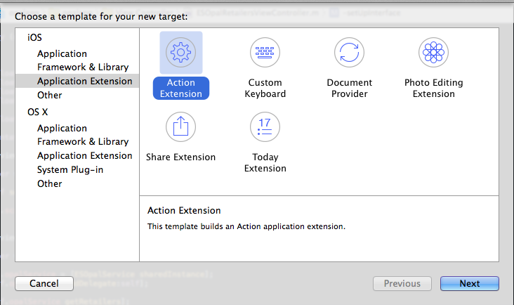 Creating an extension in Xcode 6