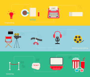 Movie making icons set in flat design style, vector illustration