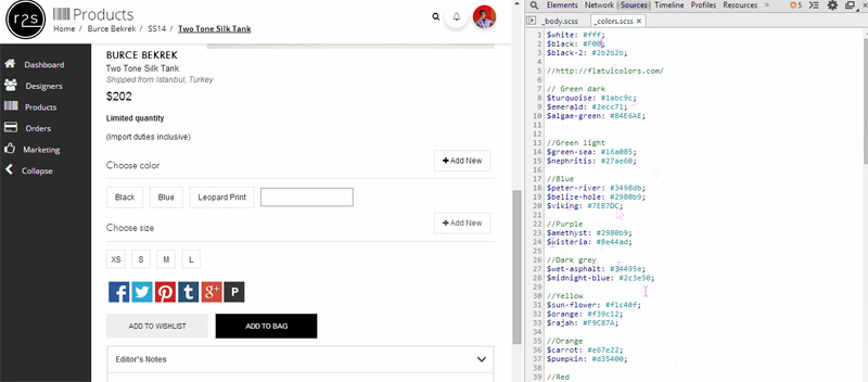 Inspecting and live editing Sass in the browser