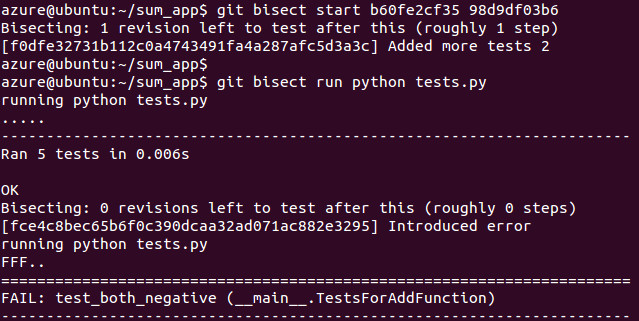 Git running unit tests