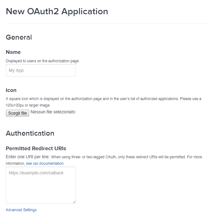 The New OAuth App Screen