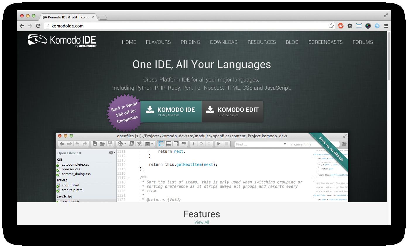 Komodo IDE website