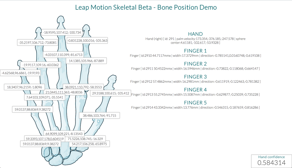 Screenshot of the bone position demo