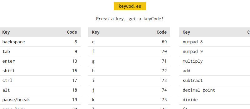 keyCod.es