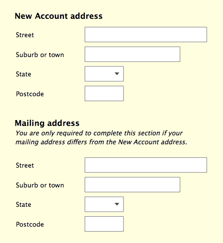 New account form and a separate mailing address section.