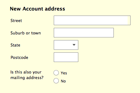 New account form with 'is this your mailing address' option.