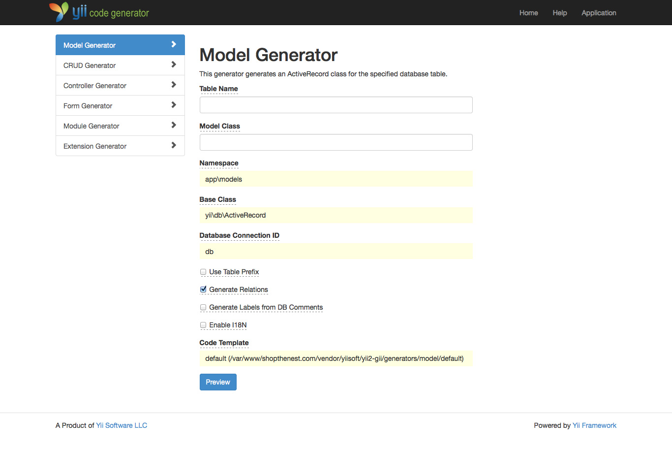 Gii Model Generator