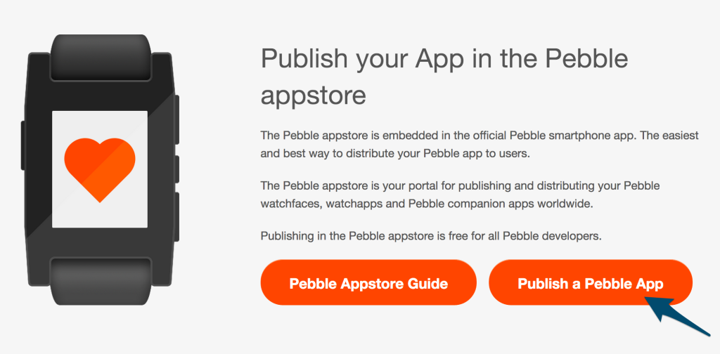 Screenshot of Publish a Pebble App button