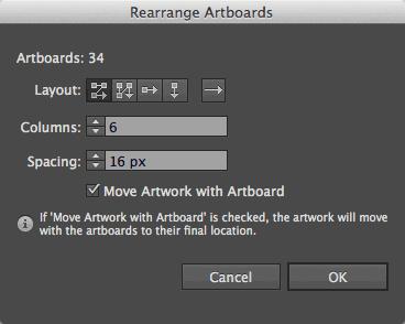 Rearrange artboards panel