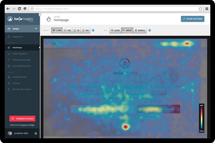 Hotjar's heatmaps interface in action