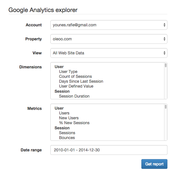 Google Analytics API v3 and PHP: Filters and Charts