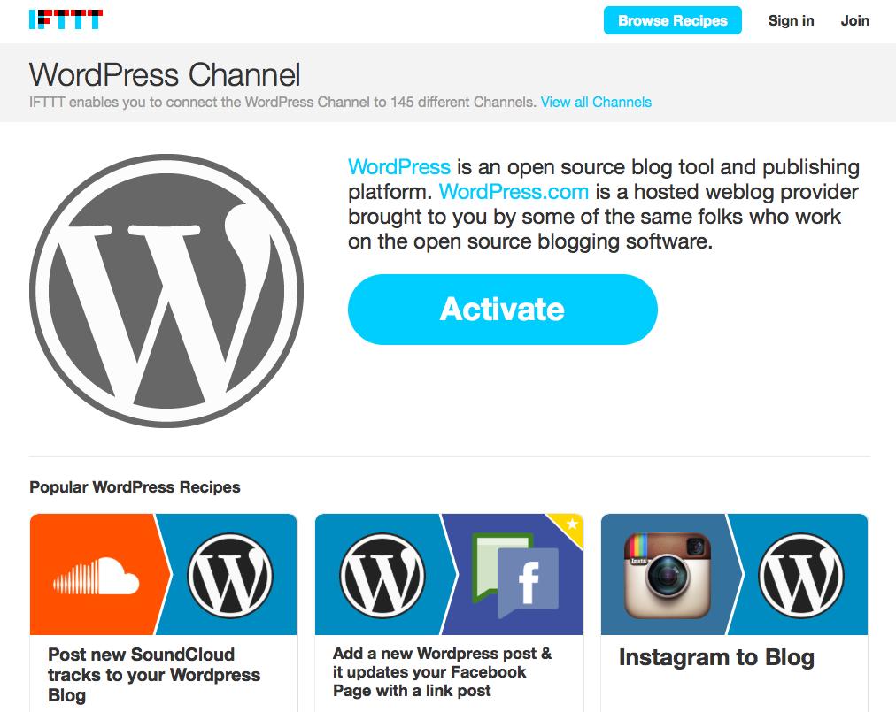 IFTTT website screenshot