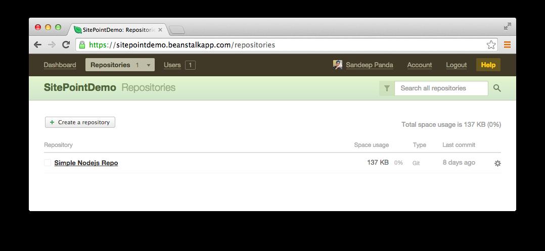 My repositories tab