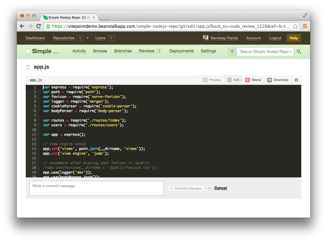 Inline code editor