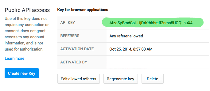 Google Developer Console: the new API key