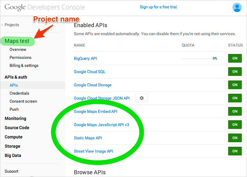 Getting started with google maps recipes sitepoint - Google developer console ...