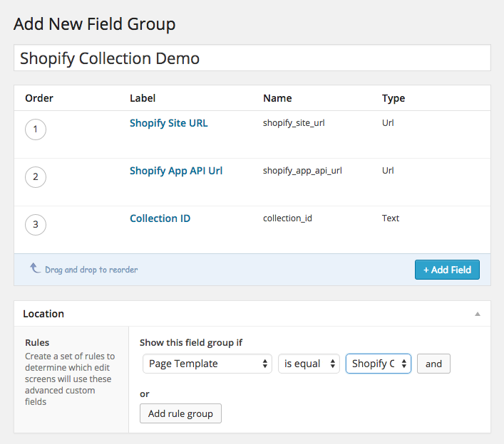 Custom fields setup using Advanced Custom Fields