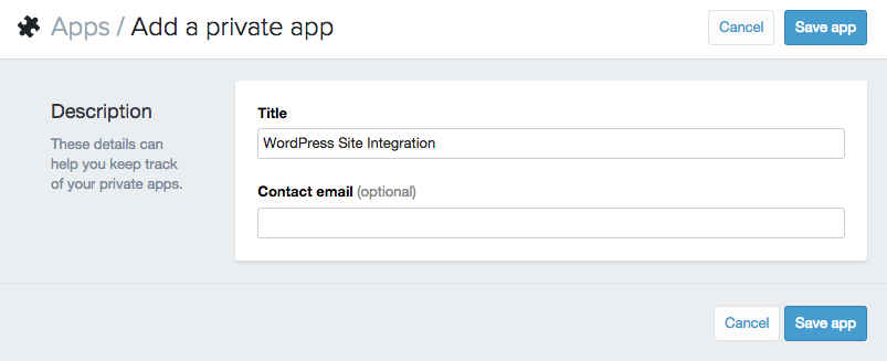 Creating a Private App