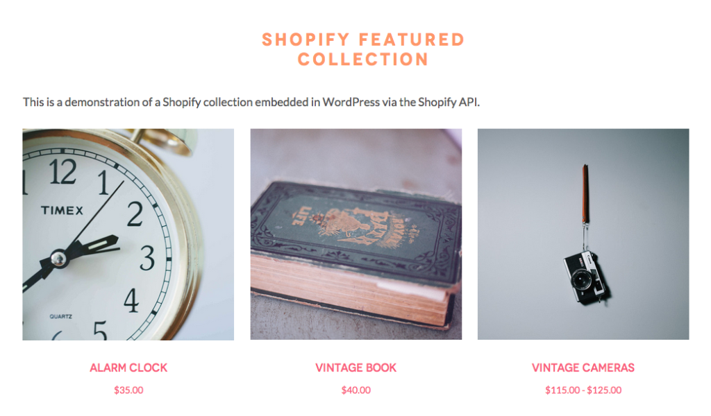 Embedded Shopify Collection Screenshot