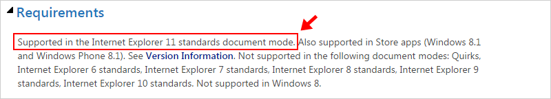 IE Dev Center Requirements