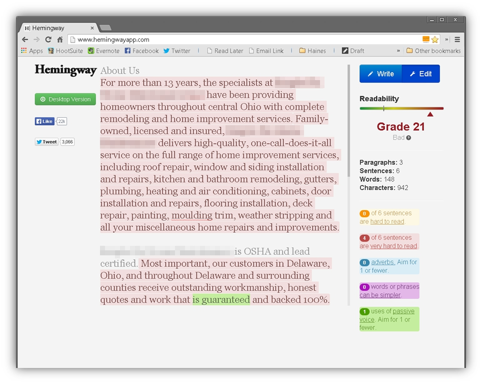 The same 'About Us' image provided in the 'before' image earlier, shown in the Hemingway app with the entire page highlight indicating that the sentences are difficult to read. On the right side of the page is a grade score indicating that the reader would need to be at grade 21 to properly understand the content.