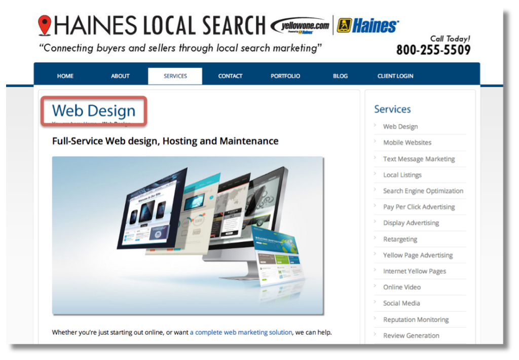 "A web page - Haines Local Search - with a large page heading, ""Web Design."""