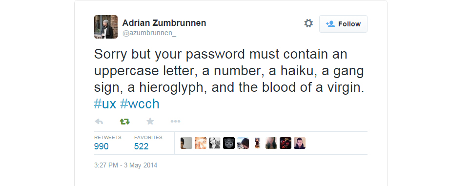 A well loved Password UX tweet