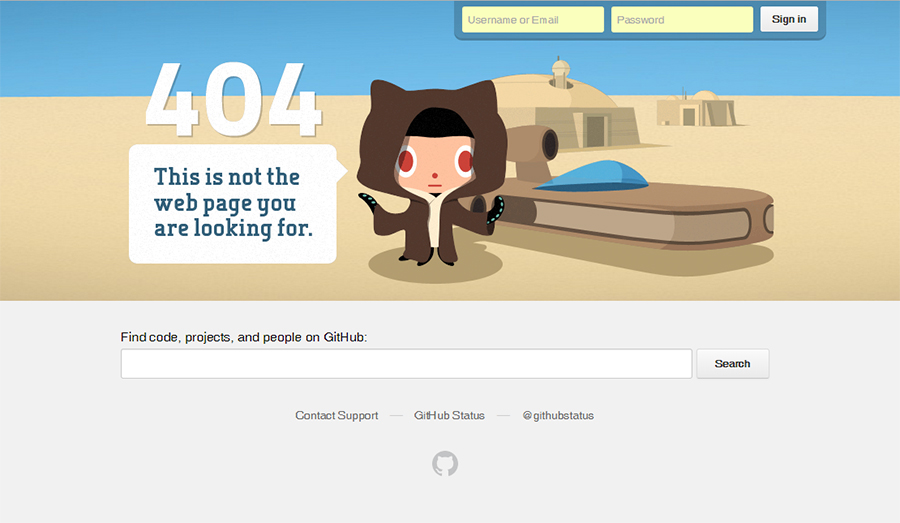 Github's famously Star warsy 404 page
