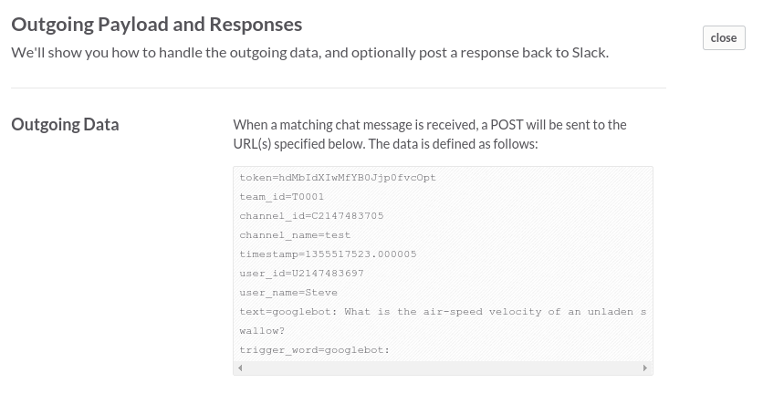 Outgoing WebHook Data Example