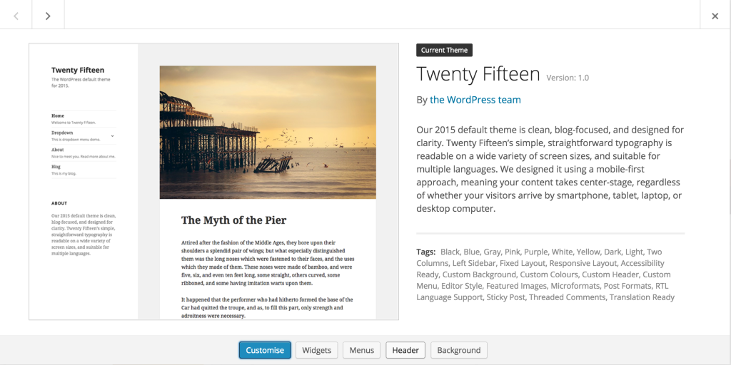 WordPress Twenty Fifteen Theme