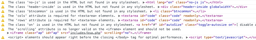 HTML Inspector console warnings
