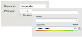 Two password forms - one using a checkbox to show password, the other using an icon button