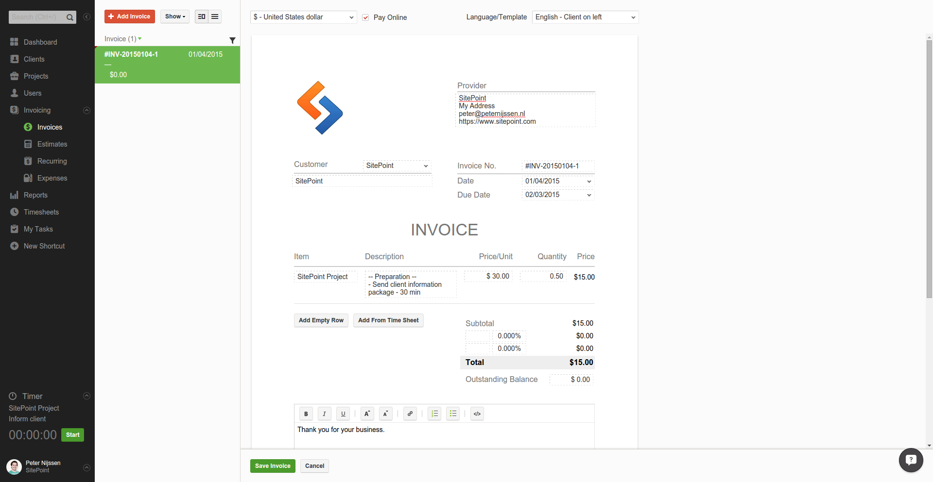 Painless Project Management Timetracking And Invoicing With Paymo - Online invoice tracking