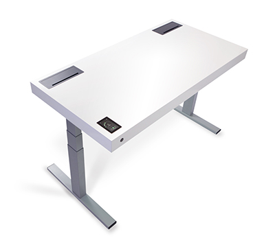 A white Stir desk with extendable legs and a small screen built into the corner