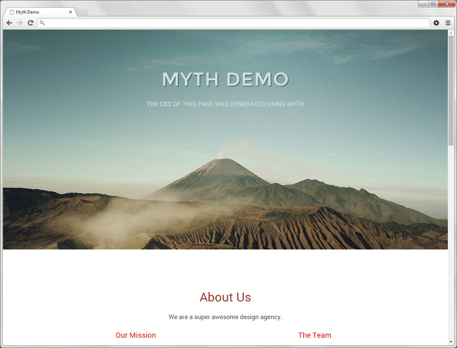 Preview of responsive design created with Myth