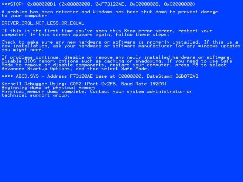 BSOD used in Win XP