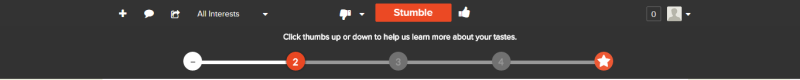 Stumbleupon onboarding - step 2