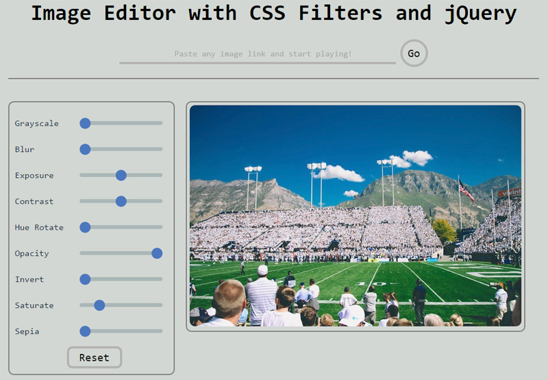 Image Editor with CSS Filters
