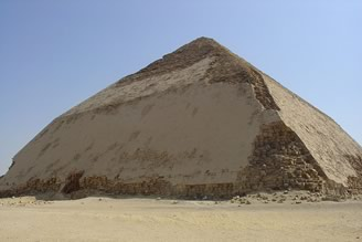 """Snefru's Bent Pyramid in Dahshur"" by Ivrienen at en.wikipedia. Licensed under CC BY 3.0 via Wikimedia Commons - http://commons.wikimedia.org/wiki/File:Snefru%27s_Bent_Pyramid_in_Dahshur.jpg#mediaviewer/File:Snefru%27s_Bent_Pyramid_in_Dahshur.jpg"
