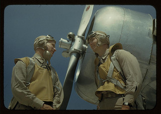 Marine lieutenants, pilots, by the power tow-plane for the training gliders at Parris Island's Page Field, S.C.  (LOC)