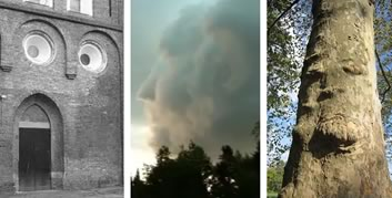 Faces in buildings, clouds and trees