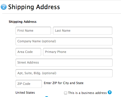 Shipping address webform showing importance of first word in meaning