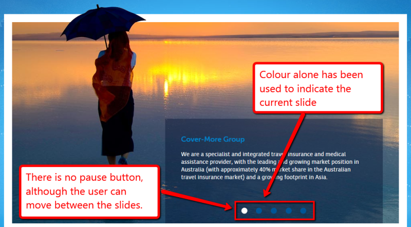 Slideshow includes a background image of a woman walking in the water with text in the foreground. Five circles are at the bottom of the slideshow, one marked in white, the others blue. There is no pause button although the user can move between slides using the circles. Colour alone has been used to indicate the current slide.